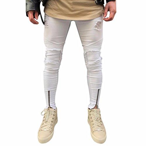 Amlaiworld Pantalones vaqueros de moto de hombres pantalones de deportivos con bolsillos slim fit skinny elásticos desgarrados jeans Para hombres Blanco