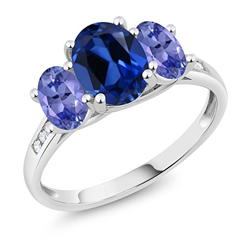 10K White Gold Diamond Accent Oval Blue Simulated Sapphire Blue Tanzanite 3-Stone Ring 2.50 Ct, Available in size (5,6,7,8,9)
