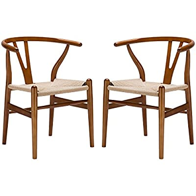 Poly and Bark Weave Chair in Walnut (Set of 2) - Set of 2 wood chairs Solid wood frame 100% natural hemp woven rope cord seat - kitchen-dining-room-furniture, kitchen-dining-room, kitchen-dining-room-chairs - 41JSpR9j95L. SS400  -