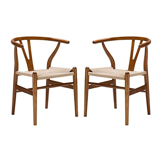 Poly and Bark Weave Modern Wooden Mid-Century Dining Chair, Hemp Seat, Walnut (Set of 2) - Set of 2 wood chairs Solid wood frame 100% natural hemp woven rope cord seat - kitchen-dining-room-furniture, kitchen-dining-room, kitchen-dining-room-chairs - 41JSpR9j95L. SS570  -