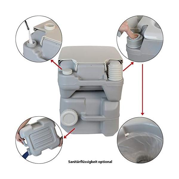 41JSpVsHjJL BB Sport Campingtoilette 20l - Optional: Sanitärflüssigkeiten und Reinigungsspritze tragbare Chemietoilette