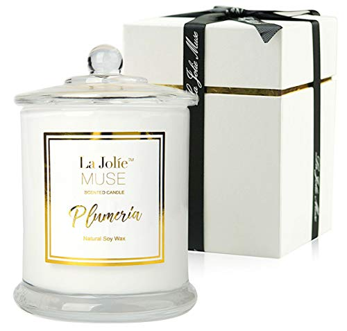 LA JOLIE MUSE Plumeria Scented Candles Natural Soy Wax Glass Jar, 55 Hours Burn, Fine Home Fragrance, Gifts Candle Set (Yankee Candle Plumeria)