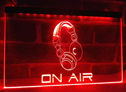 On Air Headphone Headset Studio Neon Sign for Your Store 11.8inch x 7.8inch - Red Colour
