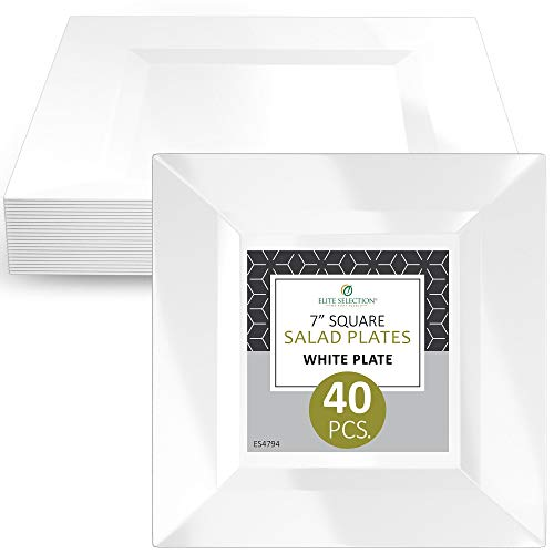 Elite Selection Pack Of 40 White Salad Dessert Square Disposable Plastic Party Plates (7 Inch)