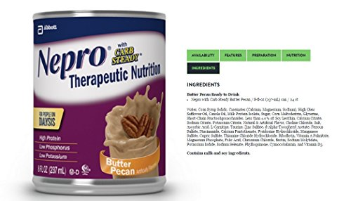 Nepro with Carb Steady Complete Nutrition, Butter Pecan, Case of 24 Containers