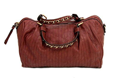 Womens Ladies Handbags Piel Efecto Lujo Bolsos Cadena de metal correa de piel Rojo