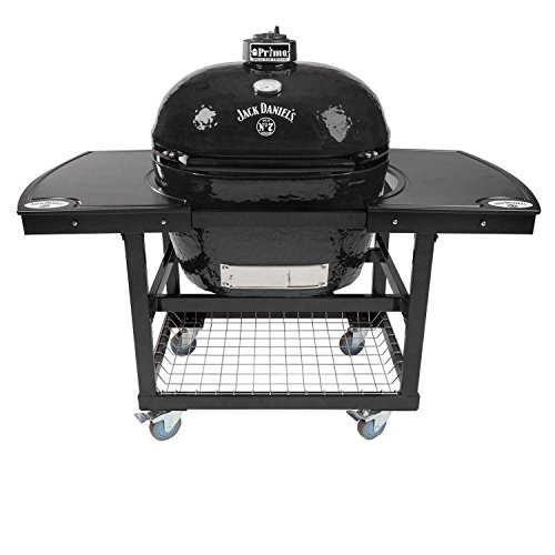 Primo Oval XL 400 Ceramic Smoker Grill Jack Daniel's Edition On Cart with 2-Piece Jack Daniel's Island Top ()