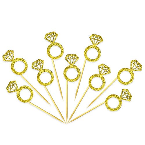 Cupcake Toppers 50 Pack- Gold Glitter Diamond Ring Cake Toppers for Marriage Engagement Anniversary Birthday Valentines Party Cake Decor