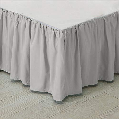 Kokolife Ruffled Solid Bed Skirts Wrap Around with Platform Gathered Style 3 Sides Coverage(Light Grey, Full)