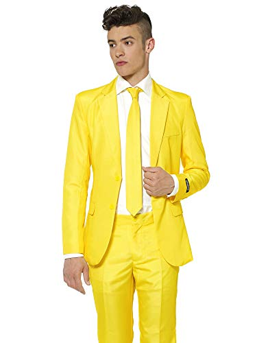 Suitmeister Solid Colored Suits - Yellow - Includes Jacket, Pants & TiE