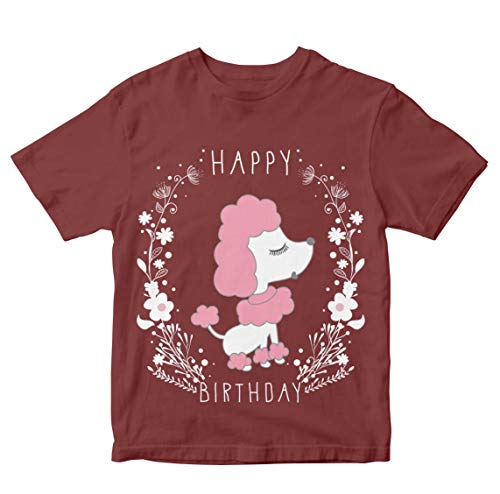 Heybroh Girls' Regular Fit T-Shirt Happy Birthday Poodle 100% Cotton Girl's Unisex Fit T-Shirt