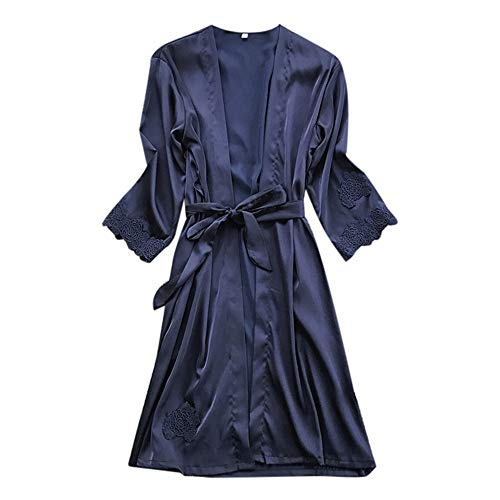 - YOcheerful Lady Bathrobe, Women Sexy Lingerie Solid Silk Robe Dressing Gown Nightdress Loungewear Sleepwear Kimono Navy