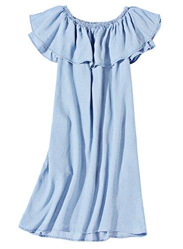 Futurino Women's Blue Denim Shoulder Off Ruffle Shift Mini (Ruffled Shift)