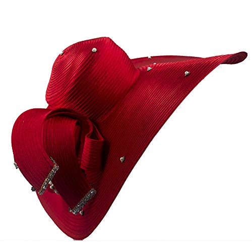 (Kueeni Women Hats Hot Red Color Church Hats Lady Party Wear Fedoras Hats)