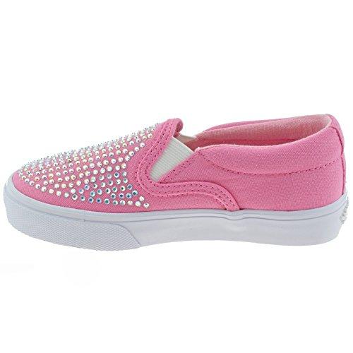 2 Kelly Canvas bc01 Diamante Pumps 34 Pink Lk4254 uk Stella Lelli vFHBqCSH