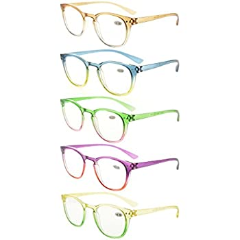 06c56d49c0f Eyekepper 5 Pack Fashion Readers Womens Reading Glasses (One for Each  Color