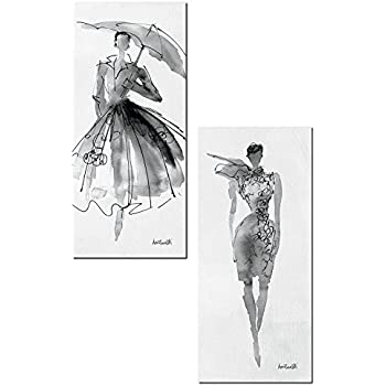 Trendy Runway Fashion Model Sketch Panel Sets By Anne Tavoletti; Two 8x18in  Paper Posters  Fashion Design Posters