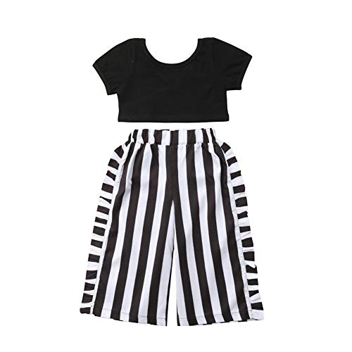 Toddler Baby Girls T-Shirt Crop Tops+Striped Long Pants Kids Summer Fall Outfits Clothes 2PCS Set 1-6T (White and Black, 5-6 Years)