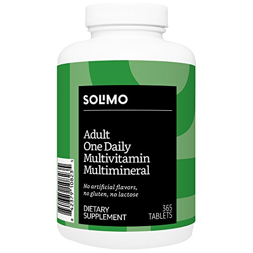 Amazon Brand - Solimo Adult One Daily Multivitamin Multimineral, 365 Tablets, Value Size - One Year Supply
