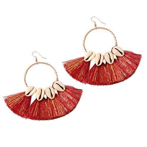 Women Ladies Retro Bohemian Earrings Fringe Tassel Statement Earrings Beach Party Drop Hoop Earrings Jewelry (Red)