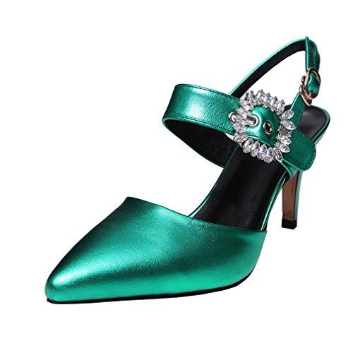 Enmayer Hebilla Para Mujer Tacones Altos Punta Estrecha Zapatos Casuales De Fiesta Zapatos De Tacón De Aguja Sandalias Verdes
