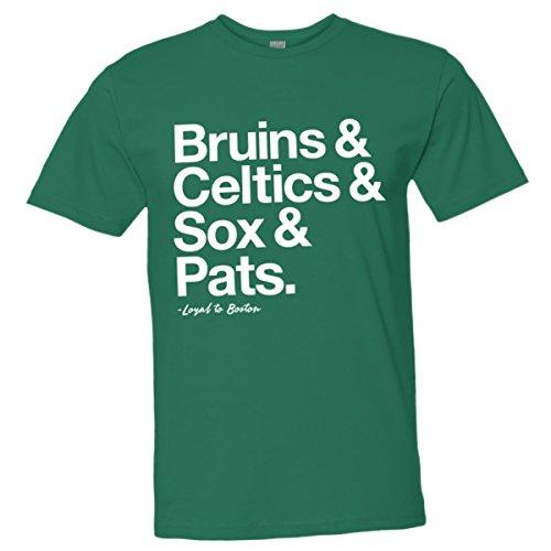 Mens/Unisex Loyal Bruins Celtics Red Sox Pats Sports Ball Tee Grn-L