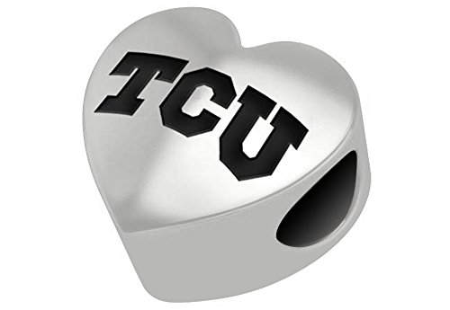 Texas Christian TCU Horned Frogs Sterling Silver Heart Bead Fits Most European Style Charm Bracelets (Charm Texas Horned Christian Frogs)