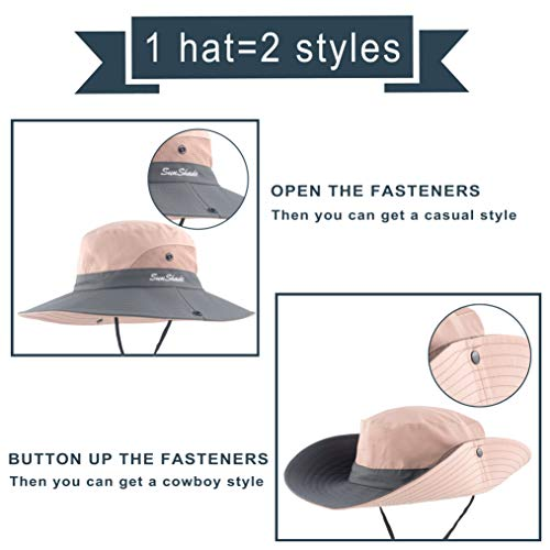 7026d0fa60df2 Muryobao Womens Summer Sun UV Protection Hat Foldable Wide Brim Boonie Hats  Beach Safari Fishing Clothing, ...