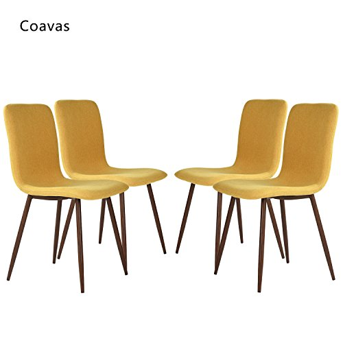 Set of 4 Dining Chairs Coavas Fabric Cushion Kitchen Chairs with Sturdy Metal Legs for Dining Room, Yellow