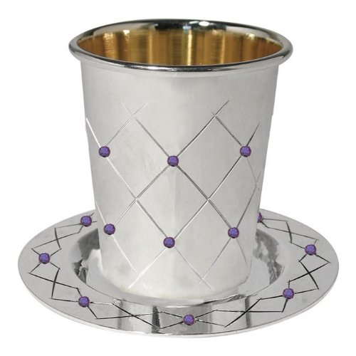 Silver Plated Quilted & Ruby Crystals Wine Cup & Coaster