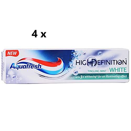 4 x Aquafresh High Definition White Tingling Mint Fluoride Toothpaste 75ml