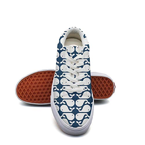 fvnoui Ladycute Whale Navy and White Pattern Canvas Shoes Low-Cut Straps Funky Sneakers Suitable for Walking