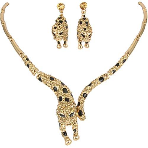 Faith Ring Necklace (EVER FAITH Leopard Necklace Earrings Set with Topaz Color Austrian Crystal)