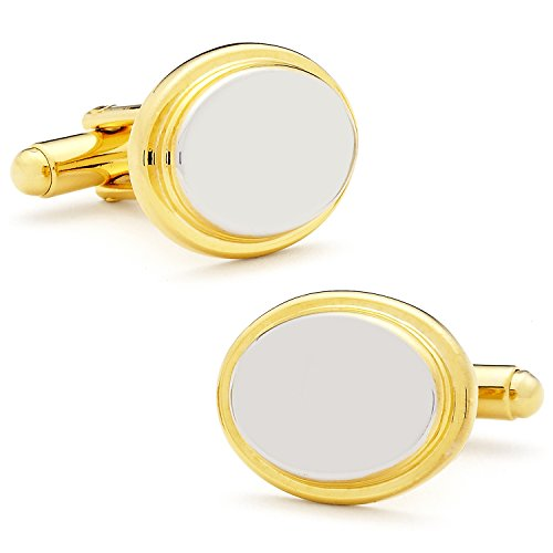 Ox and Bull Trading Co Two Tone Stainless Steel Oval Step Engravable Cufflinks (Tone Cuff Two)