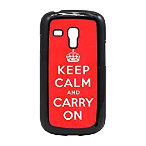 Case Fun Case Fun Red Keep Calm and Carry On Snap-on Hard Back Case Cover for Samsung GalaxyS3 Mini (I8190)