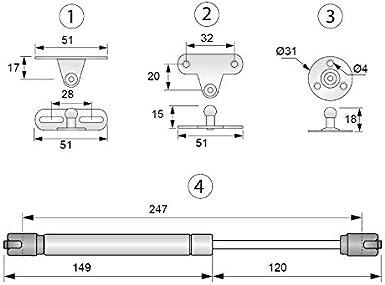 FURNICA 2x Amortiguador de Gas Resorte de Compresi/ón para Puertas Armario Potencia de 120N