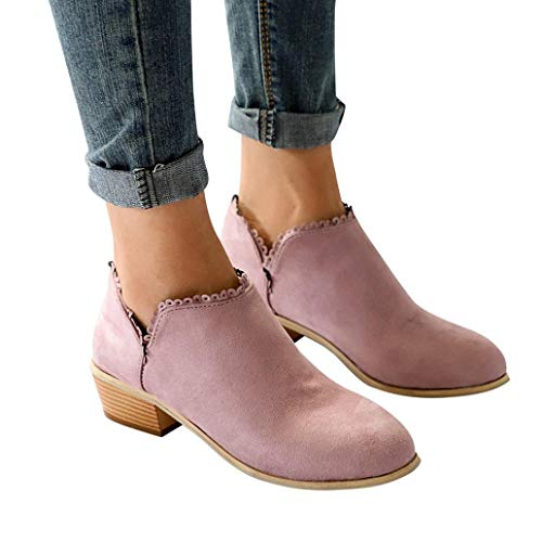 - Gyoume Autumn Ankle Boots Boots Women Office Flat Boots Shoes Lady Pointed Toe Boots Classic Shoes Pink