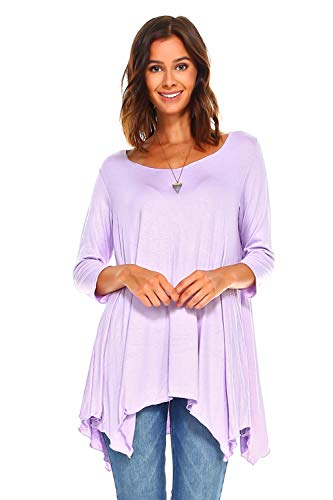 Simplicitie Women's 3/4 Sleeve Loose Fit Flare Swing T Shirt Tunic Top - Regular and Plus Size - Made in USA (3X, Lavender) (Made Women Usa Clothing In)