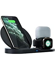 Wireless charger holder for apple Watch iPhone airpods, Qi Fast Wireless Charger 3-in-1 Charging Dock