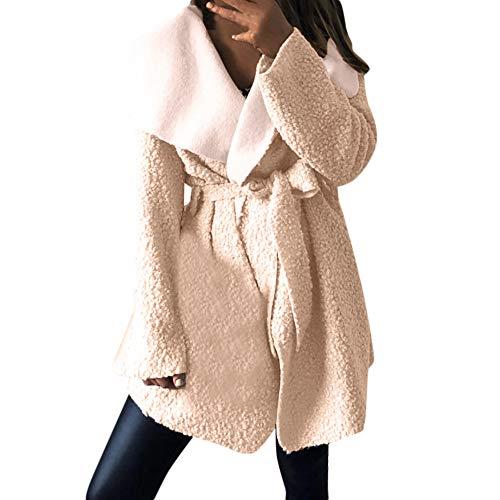 iDWZA Fashion Women Lrregular Lapel Neck Outwear Coat Cinch Waist Belt Overcoat Cardigan(Beige,US L/CN XL)