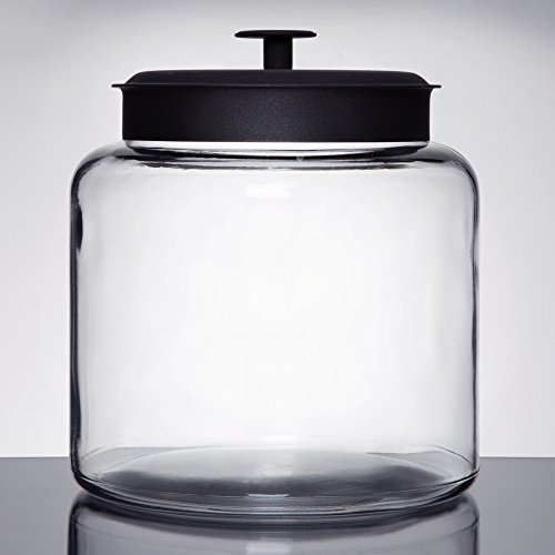Anchor Hocking Glass Montana Jar with Black Aluminum Cover,