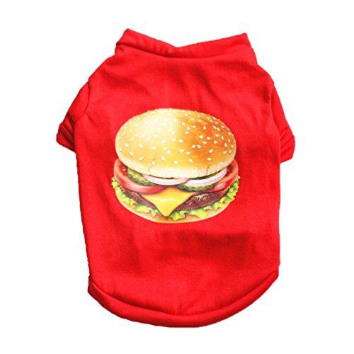 Pet Shirt OOEOO, Puppy Hamburger Clothes Summer Apparel Dog Cat Vest Soft Costume (Red, XS) ()