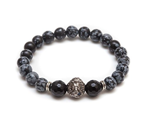 ZENGER Rhodium Plated Lion Head Beaded Bracelet