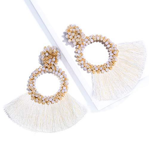 Tassel Earrings Bohemian Statement Handmade Beaded Fringe Dangle Earrings Gifts for Women Girls(Tassel green)
