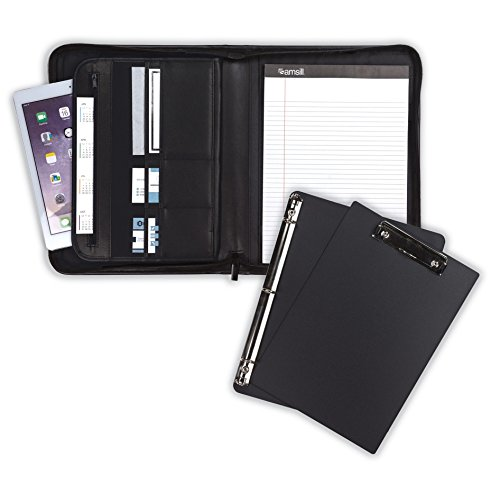 "Samsill 70829  Professional Padfolio Bundle, Includes Removeable Clipboard and .5"" Round Ring Binder – Resume Portfolio / Business Portfolio with Secure Zippered Closure, 10.1 Inch Tablet Sleeve, (Binder Portfolio)"