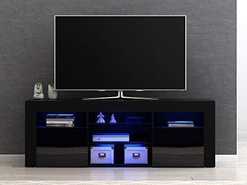 Panana-B - Mueble Moderno para televisor LED con estantes y Puertas de Alto Brillo Frontal con Luces LED Negro: Amazon.es: Electrónica