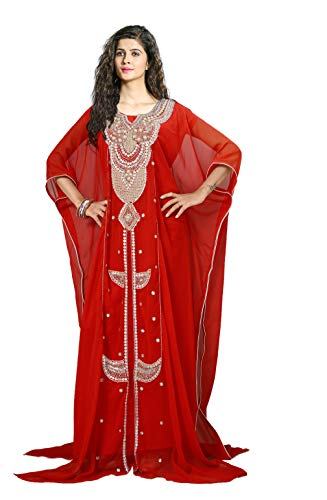 KoC Women's Kaftan Maxi Dress Farasha Caftan KFTN124-Red