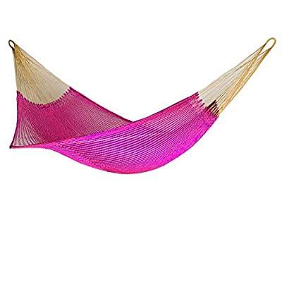 Ingalex New Rope Nylon Handmade Hammock Weather-Resistant Made in Venezuela Soft to The Touch Multicolored (Purple and Pink) - hammock handmade in Venezuela color: Yellow, Length: 11.10 ft Aprox. X Width:7 ft. Weight Capacity: 300 lbs. Hammock is Weather Resistant and washable in washing machine - patio-furniture, patio, hammocks - 41JSvhH3dvL. SS400  -