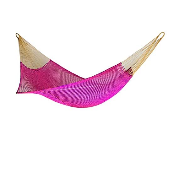 Ingalex New Rope Nylon Handmade Hammock Weather-Resistant Made in Venezuela Soft to The Touch Multicolored (Purple and Pink) - hammock handmade in Venezuela color: Yellow, Length: 11.10 ft Aprox. X Width:7 ft. Weight Capacity: 300 lbs. Hammock is Weather Resistant and washable in washing machine - patio-furniture, patio, hammocks - 41JSvhH3dvL. SS570  -