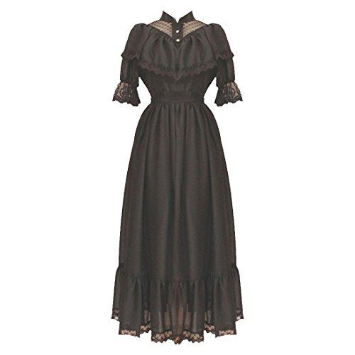 Schwarz Lolita Bodenlang Kleider Baumwolle Partiss Schwarz Gotische Damen UwqfEfWB8